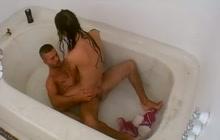 Hard fucking in big bathroom tub