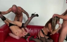 Small boobed girls fucking with 2 sexy dudes