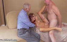 Small boobed skinny chick fucking with mature dudes