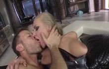 Horny man and two hookers in action