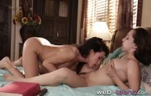 Little brunette licking hotties pussy