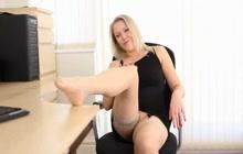 Hot blonde co-worker legs